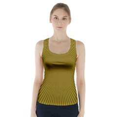 Stripy Starburst Effect Light Orange Green Line Racer Back Sports Top by Mariart