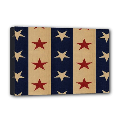 Stars Stripes Grey Blue Deluxe Canvas 18  X 12   by Mariart