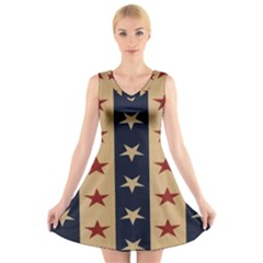 Stars Stripes Grey Blue V Neck Sleeveless Skater Dress by Mariart