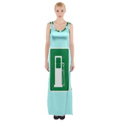 Traffic Signs Hospitals, Airplanes, Petrol Stations Maxi Thigh Split Dress