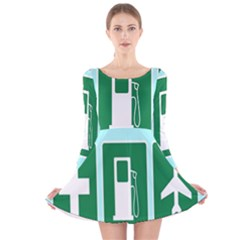 Traffic Signs Hospitals, Airplanes, Petrol Stations Long Sleeve Velvet Skater Dress by Mariart
