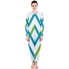Symbol X Blue Green Sign Onepiece Jumpsuit (ladies)  by Mariart