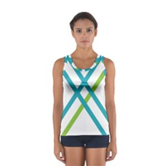 Symbol X Blue Green Sign Women s Sport Tank Top  by Mariart