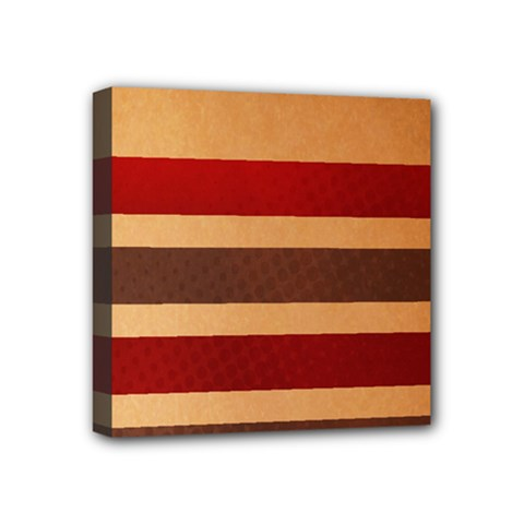 Vintage Striped Polka Dot Red Brown Mini Canvas 4  X 4  by Mariart