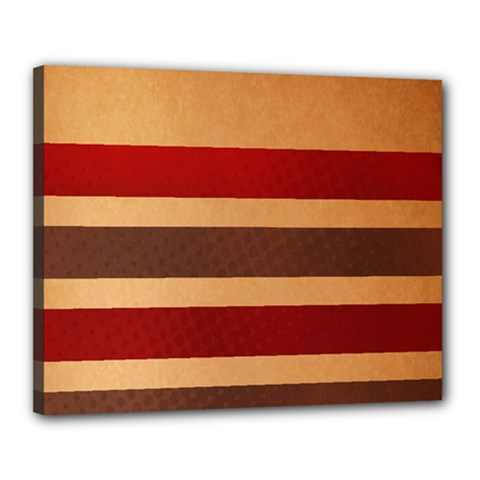 Vintage Striped Polka Dot Red Brown Canvas 20  X 16  by Mariart