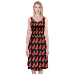 Watermelon Slice Red Black Fruite Midi Sleeveless Dress by Mariart