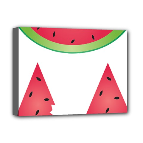 Watermelon Slice Red Green Fruite Deluxe Canvas 16  X 12   by Mariart