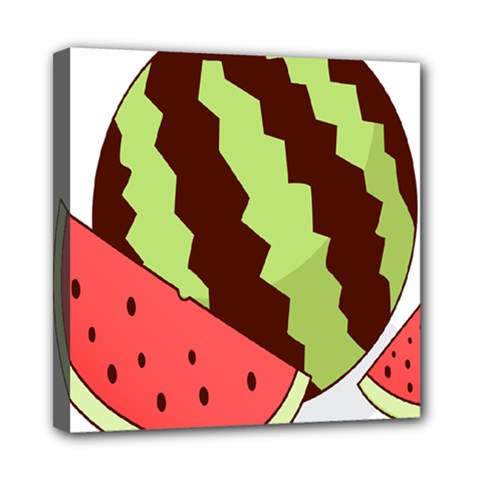 Watermelon Slice Red Green Fruite Circle Mini Canvas 8  X 8  by Mariart