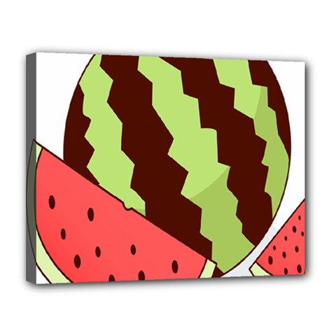 Watermelon Slice Red Green Fruite Circle Canvas 14  X 11  by Mariart