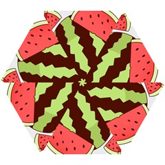 Watermelon Slice Red Green Fruite Circle Mini Folding Umbrellas by Mariart