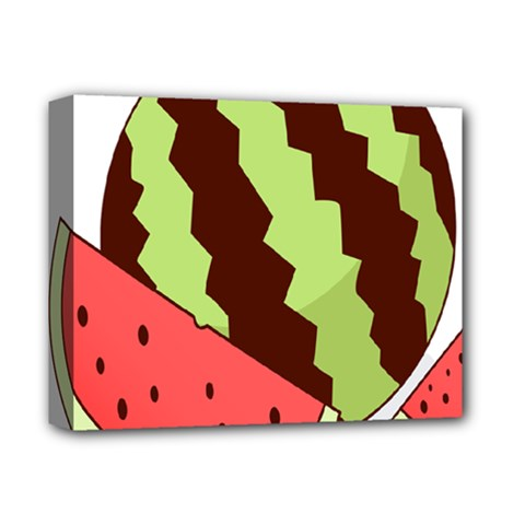 Watermelon Slice Red Green Fruite Circle Deluxe Canvas 14  X 11  by Mariart