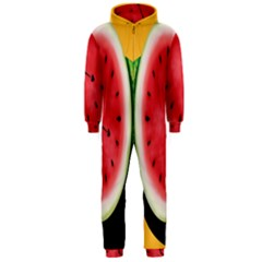 Watermelon Slice Red Orange Green Black Fruite Time Hooded Jumpsuit (men)  by Mariart