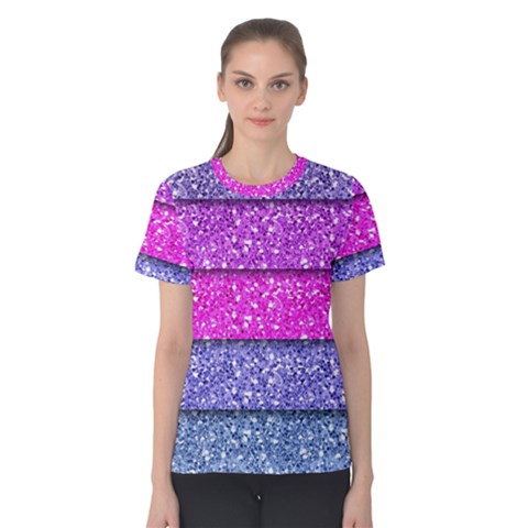 Violet Girly Glitter Pink Blue Women s Cotton Tee by Mariart