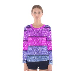 Violet Girly Glitter Pink Blue Women s Long Sleeve Tee by Mariart