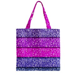 Violet Girly Glitter Pink Blue Zipper Grocery Tote Bag by Mariart