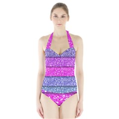 Violet Girly Glitter Pink Blue Halter Swimsuit by Mariart