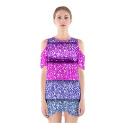 Violet Girly Glitter Pink Blue Shoulder Cutout One Piece by Mariart