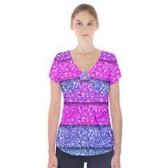 Violet Girly Glitter Pink Blue Short Sleeve Front Detail Top by Mariart