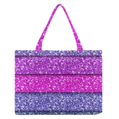 Violet Girly Glitter Pink Blue Medium Zipper Tote Bag by Mariart