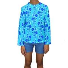 Vertical Floral Rose Flower Blue Kids  Long Sleeve Swimwear by Mariart