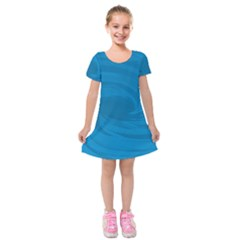 Whirlpool Hole Wave Blue Waves Sea Kids  Short Sleeve Velvet Dress by Mariart