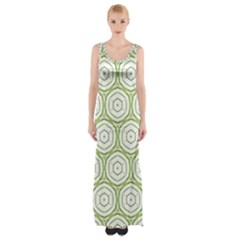 Wood Star Green Circle Maxi Thigh Split Dress by Mariart