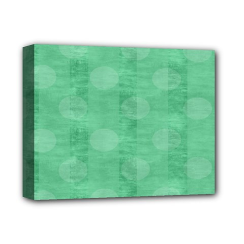 Polka Dot Scrapbook Paper Digital Green Deluxe Canvas 14  X 11  by Mariart