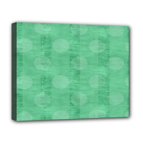 Polka Dot Scrapbook Paper Digital Green Deluxe Canvas 20  X 16   by Mariart