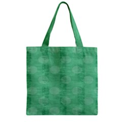 Polka Dot Scrapbook Paper Digital Green Zipper Grocery Tote Bag by Mariart