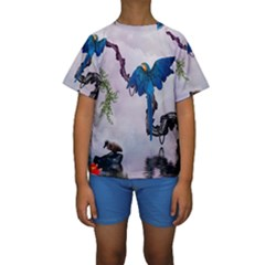 Wonderful Blue Parrot In A Fantasy World Kids  Short Sleeve Swimwear by FantasyWorld7