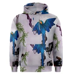 Wonderful Blue Parrot In A Fantasy World Men s Pullover Hoodie by FantasyWorld7
