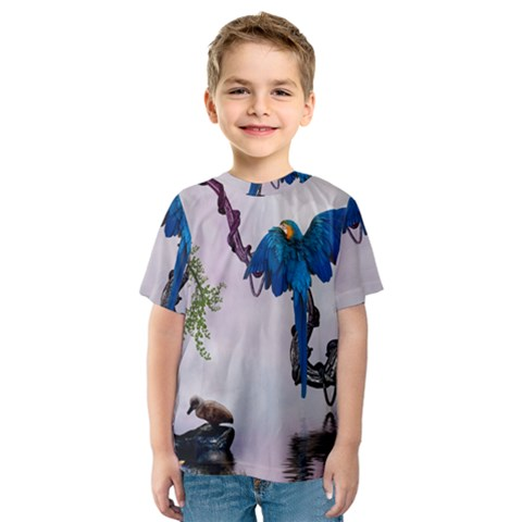 Wonderful Blue Parrot In A Fantasy World Kids  Sport Mesh Tee by FantasyWorld7