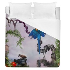 Wonderful Blue Parrot In A Fantasy World Duvet Cover (queen Size) by FantasyWorld7