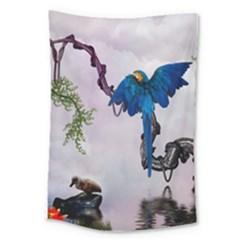 Wonderful Blue Parrot In A Fantasy World Large Tapestry by FantasyWorld7