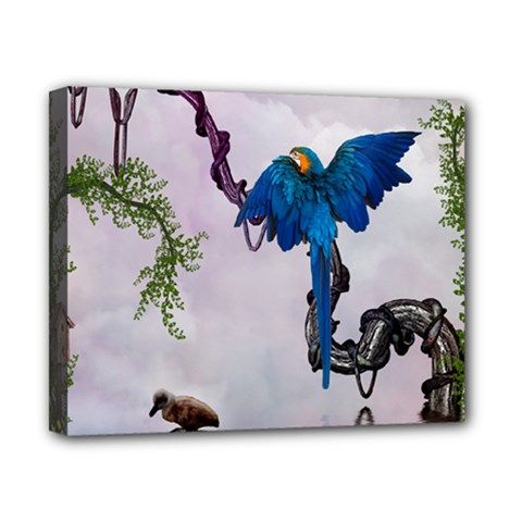 Wonderful Blue Parrot In A Fantasy World Canvas 10  X 8  by FantasyWorld7