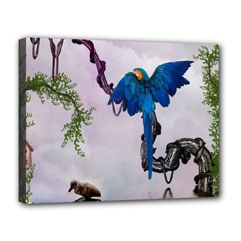 Wonderful Blue Parrot In A Fantasy World Canvas 14  X 11  by FantasyWorld7