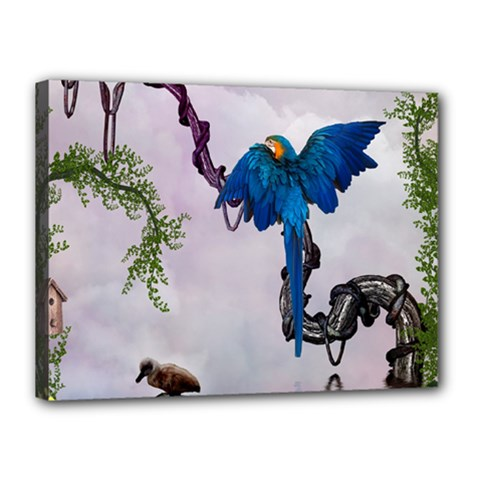 Wonderful Blue Parrot In A Fantasy World Canvas 16  X 12  by FantasyWorld7