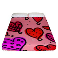 Valentine Wallpaper Whimsical Cartoon Pink Love Heart Wallpaper Design Fitted Sheet (queen Size) by Nexatart