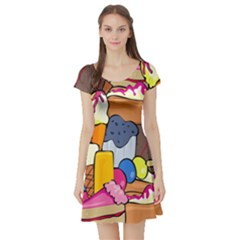 Sweet Stuff Digitally Food Short Sleeve Skater Dress by Nexatart
