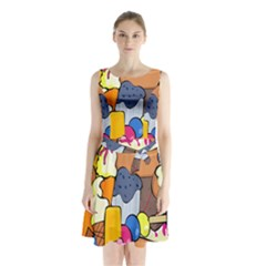 Sweet Stuff Digitally Food Sleeveless Chiffon Waist Tie Dress by Nexatart