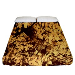 Abstract Brachiate Structure Yellow And Black Dendritic Pattern Fitted Sheet (queen Size) by Nexatart