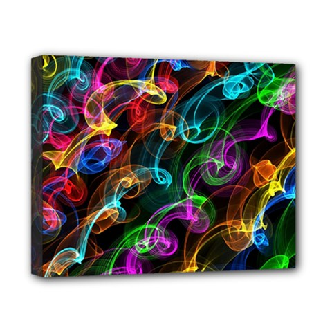 Rainbow Ribbon Swirls Digitally Created Colourful Canvas 10  X 8  by Nexatart