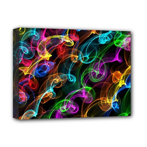 Rainbow Ribbon Swirls Digitally Created Colourful Deluxe Canvas 16  X 12