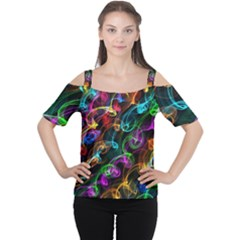 Rainbow Ribbon Swirls Digitally Created Colourful Women s Cutout Shoulder Tee by Nexatart