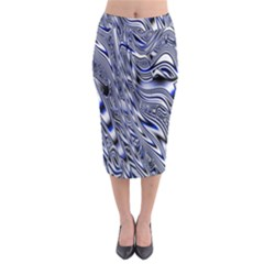 Aliens Music Notes Background Wallpaper Midi Pencil Skirt