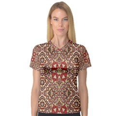 Seamless Pattern Based On Turkish Carpet Pattern Women s V Neck Sport Mesh Tee by Nexatart