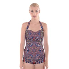 Armenian Carpet In Kaleidoscope Boyleg Halter Swimsuit