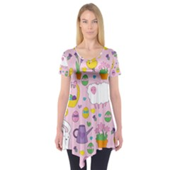 Cute Easter Pattern Short Sleeve Tunic