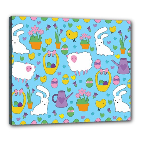 Cute Easter Pattern Canvas 24  X 20  by Valentinaart