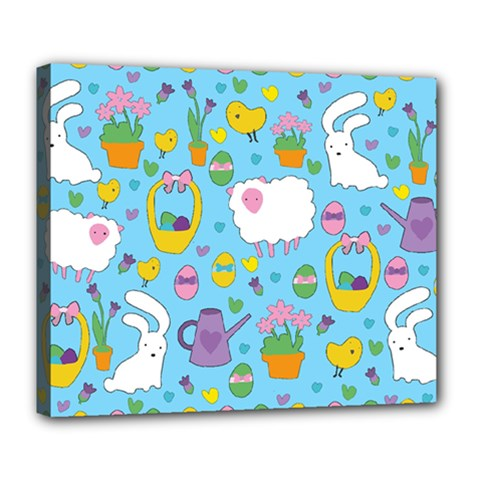 Cute Easter Pattern Deluxe Canvas 24  X 20   by Valentinaart